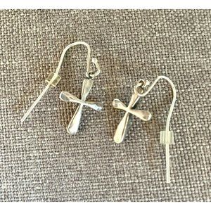 James Avery Retired Forged Latin Cross Earrings Sterling Silver 925